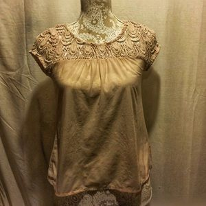 🌺B1G1🌺Cream top with crotchet design